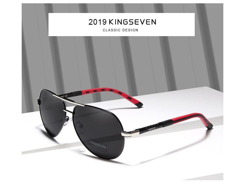 KINGSEVEN 2019 Aluminum Magnesium Men's Sunglasses Polarized Men Coating Mirror Glasses oculos Male Eyewear with box