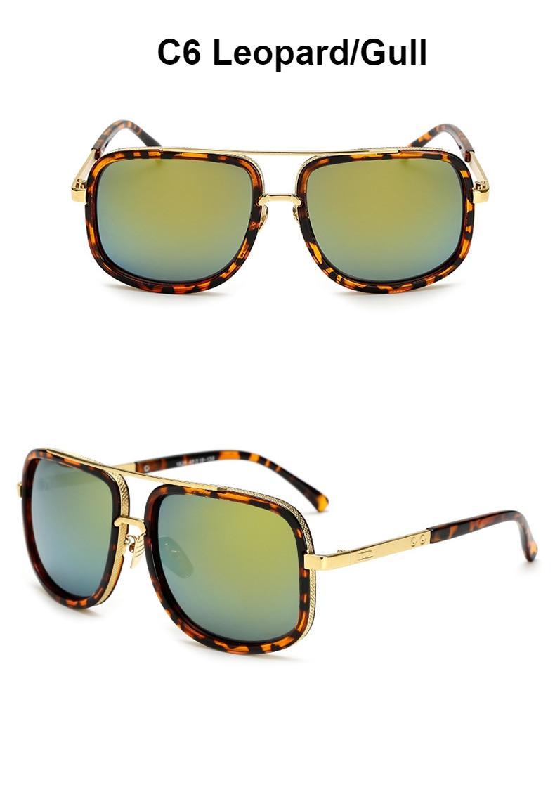 New Fashion Big Frame Sunglasses Men Square Metal Sun Glasses Women Retro Sun Glasses Vintage High Quality Gafas Oculos De Sol