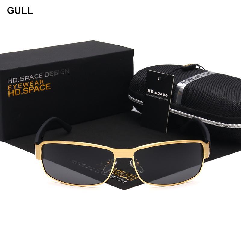 HD.SPACE Brand New High Quality Metal Rectangle Frame Polarized Lens Men's Sunglasses Driving Uv400 Mirror Sun glasses 2017