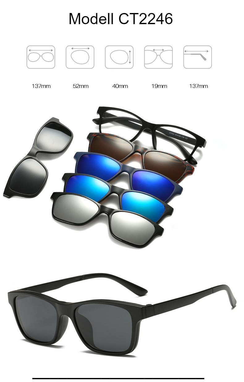 RUISIMO 5 lenes Magnet Sunglasses Clip Mirrored Clip on Sunglasses clip on glasses Men Polarized Custom Prescription Myopia