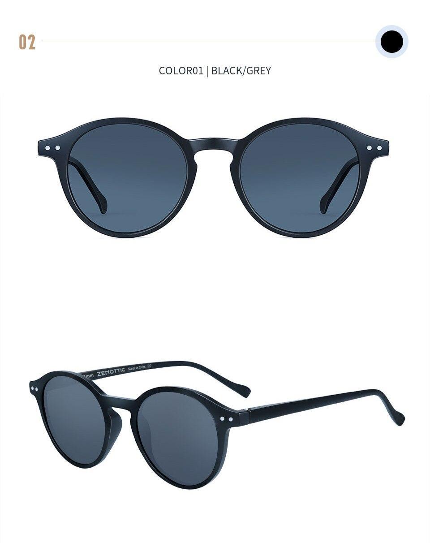 ZENOTTIC Retro Polarized Sunglasses Men Women Vintage Small Round Frame Sun Glasses Polaroid Lens UV400 Goggles Shades Eyewear