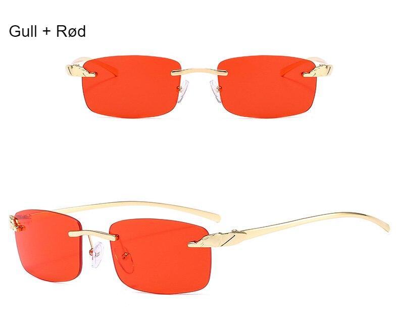 SO&EI Vintage Unique Cheetah Rimless Rectangle Sunglasses Women Candy Colors Clear Lens Eyewear Brand Designer Men Sun Glasses